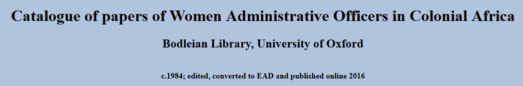Women Administrative Officers in Colonial Africa - online catalogue screenshot