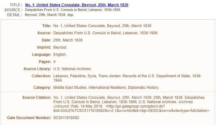 New resources for global history: Lebanon, Palestine, Syria