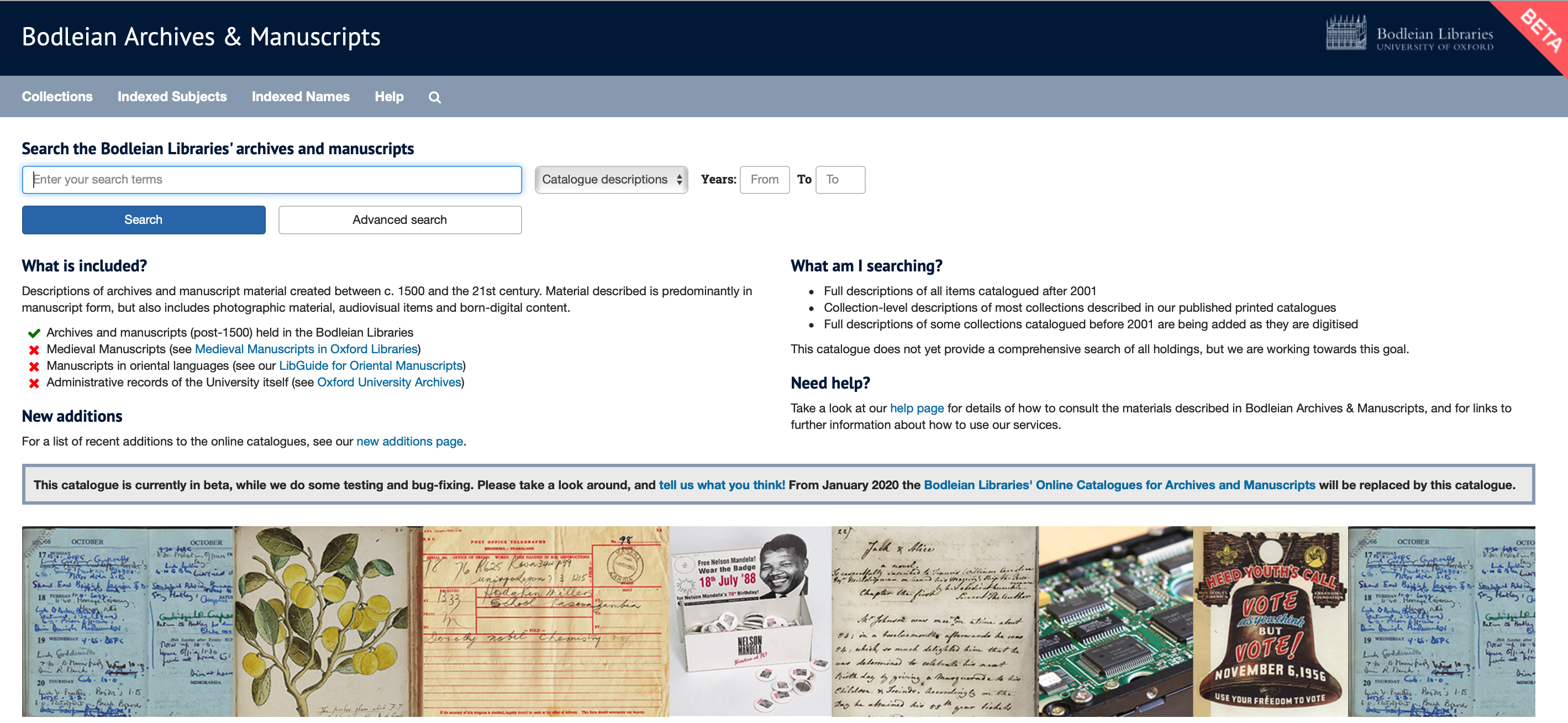 New discovery tool to search Bodleian Archives & Manuscripts
