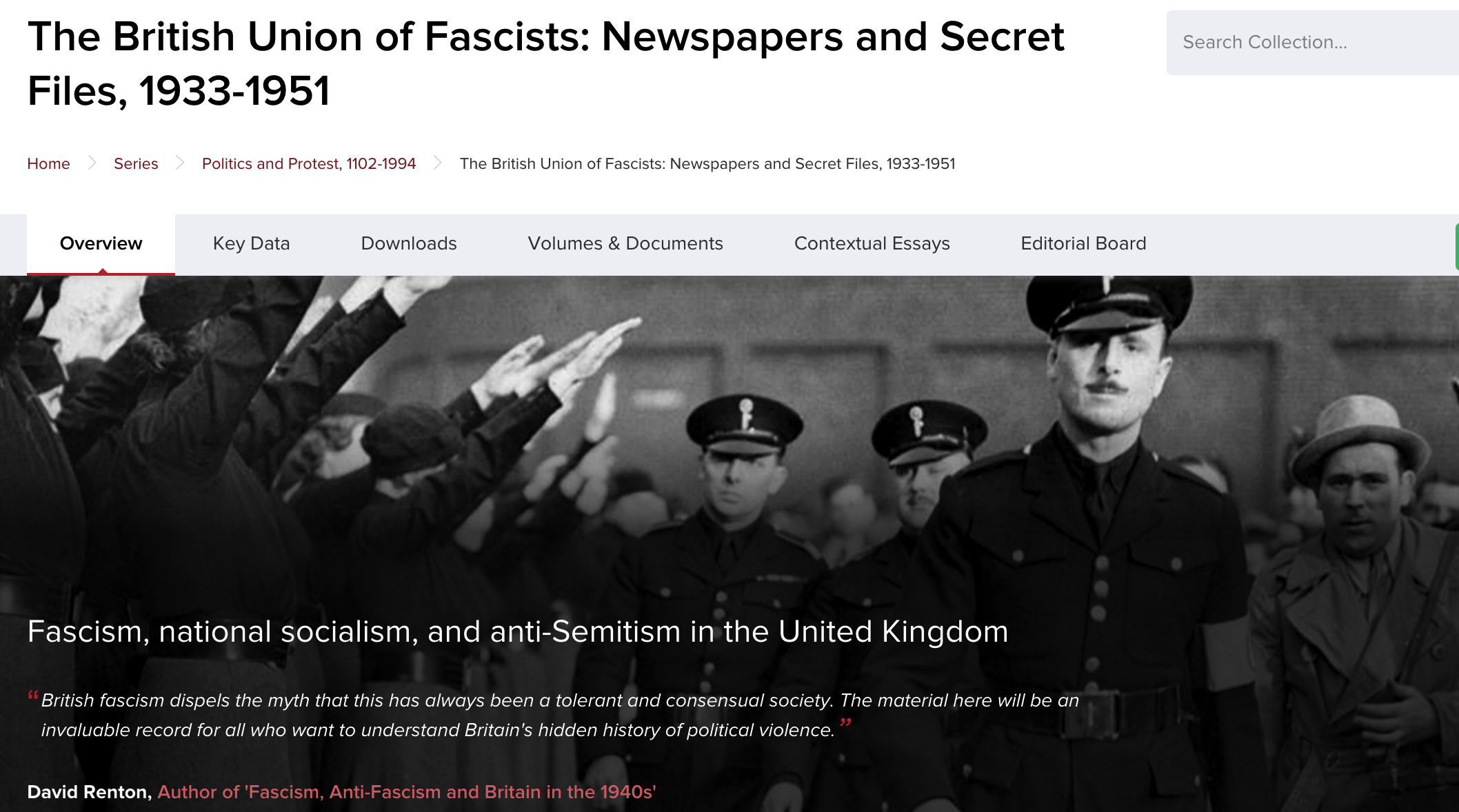 Homepage of the resource, depicting a black and white photo of Oswald Mosley walking past supporters showing the fascit salute.