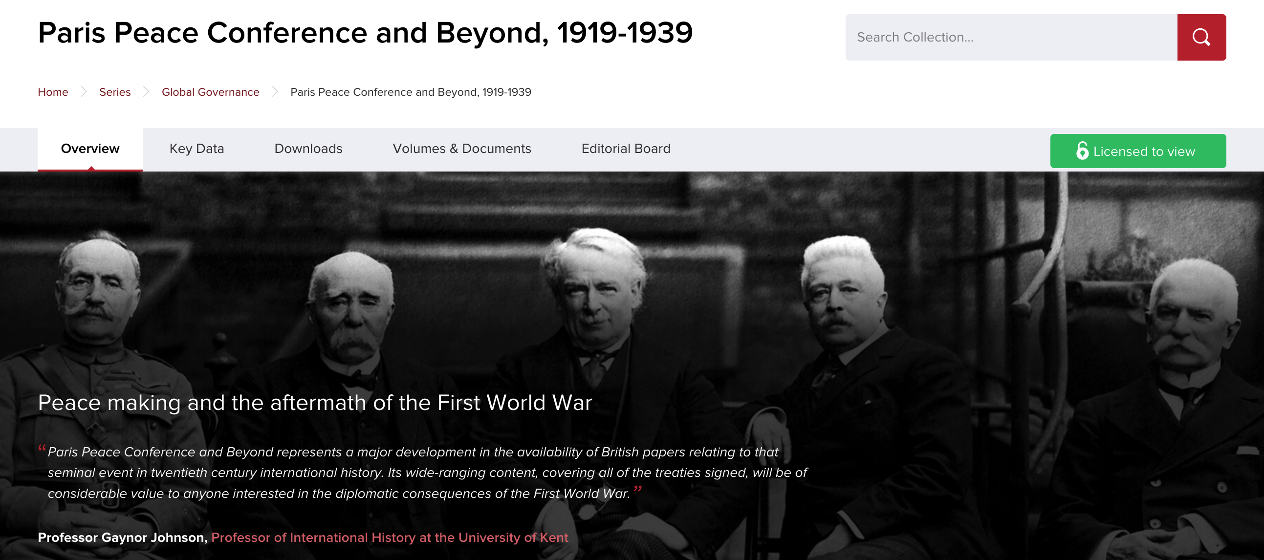 An image of the resource' s homepage, depicting 4 key statesmen (Foch, Clemenceau, Lloyd George, Orlando)