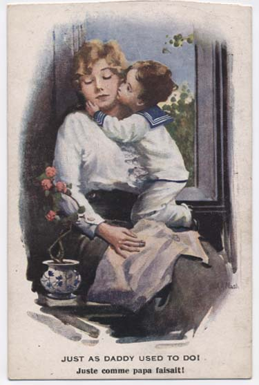 WW1 postcard: Just as daddy used to do!