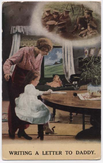 WW1 postcard: Writing a letter to daddy