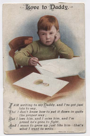 WW1 postcard: Love to daddy