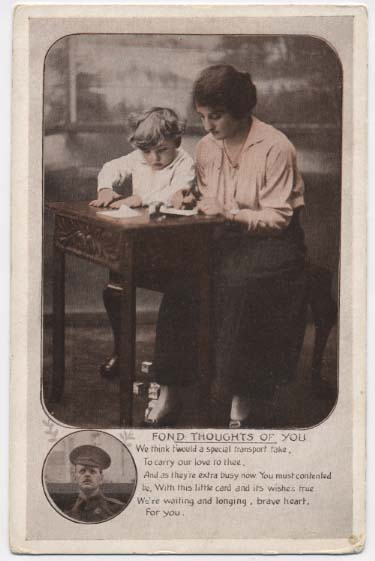 WW1 postcard: Fond thoughts of you