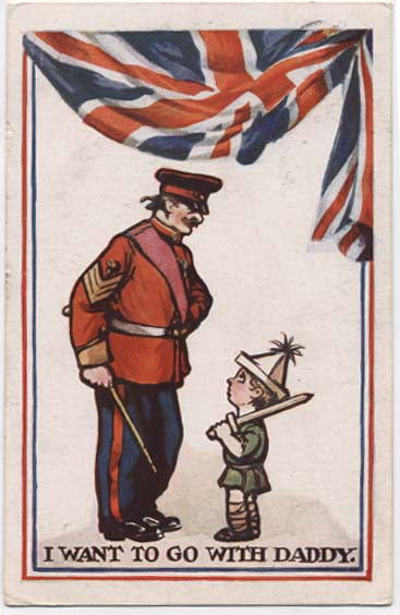 WW1 postcard: I want to go with daddy