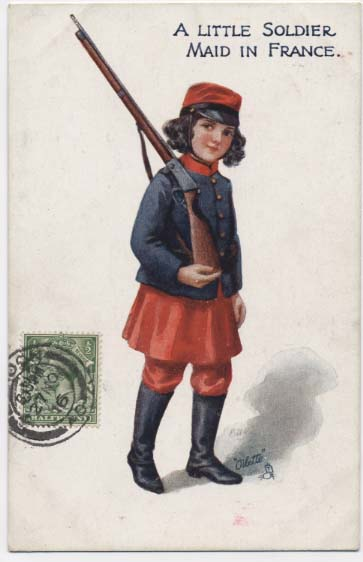 WW1 postcard: A little soldier maid in France