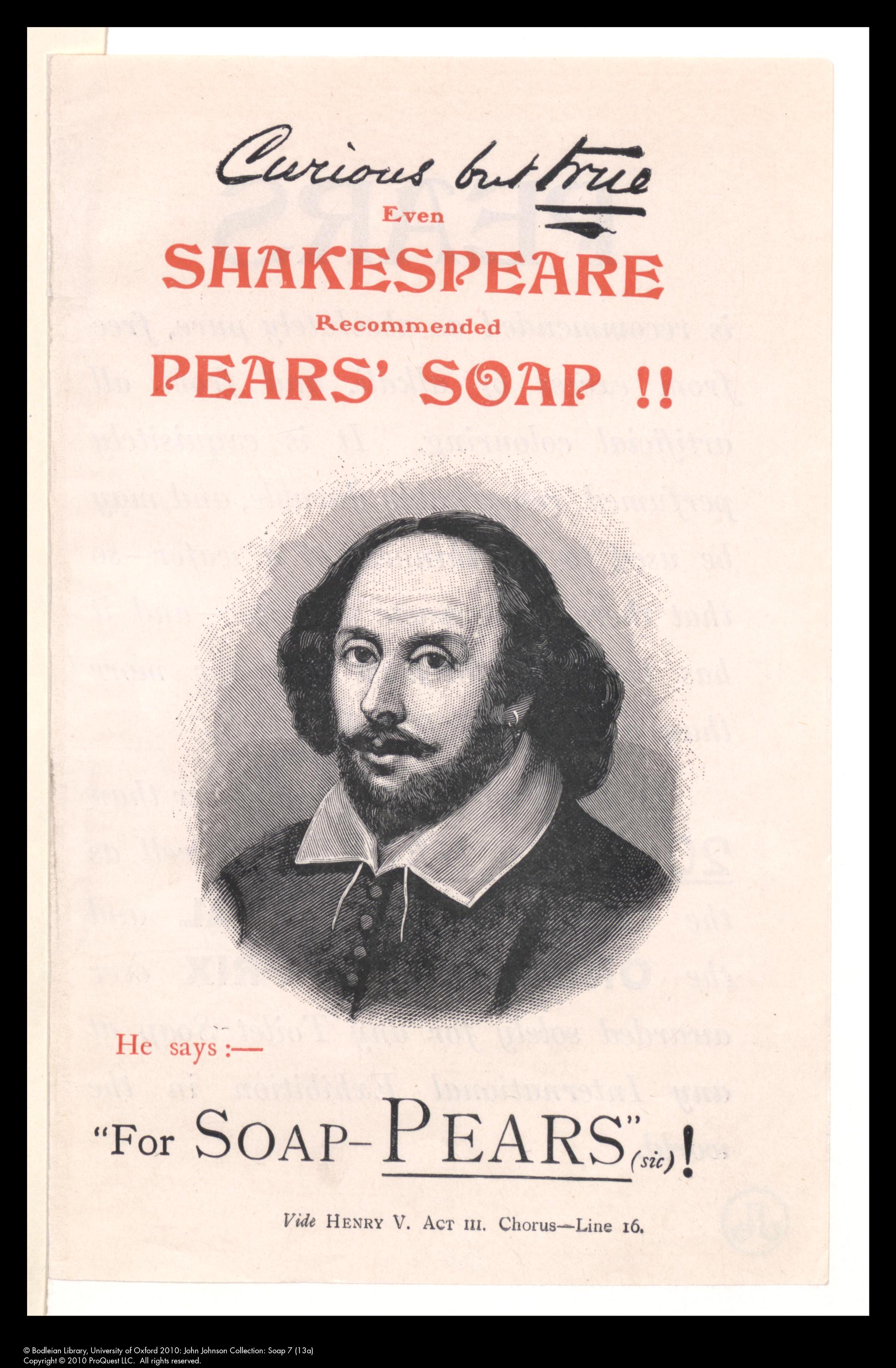 Pears soap ad showing Shakespeare
