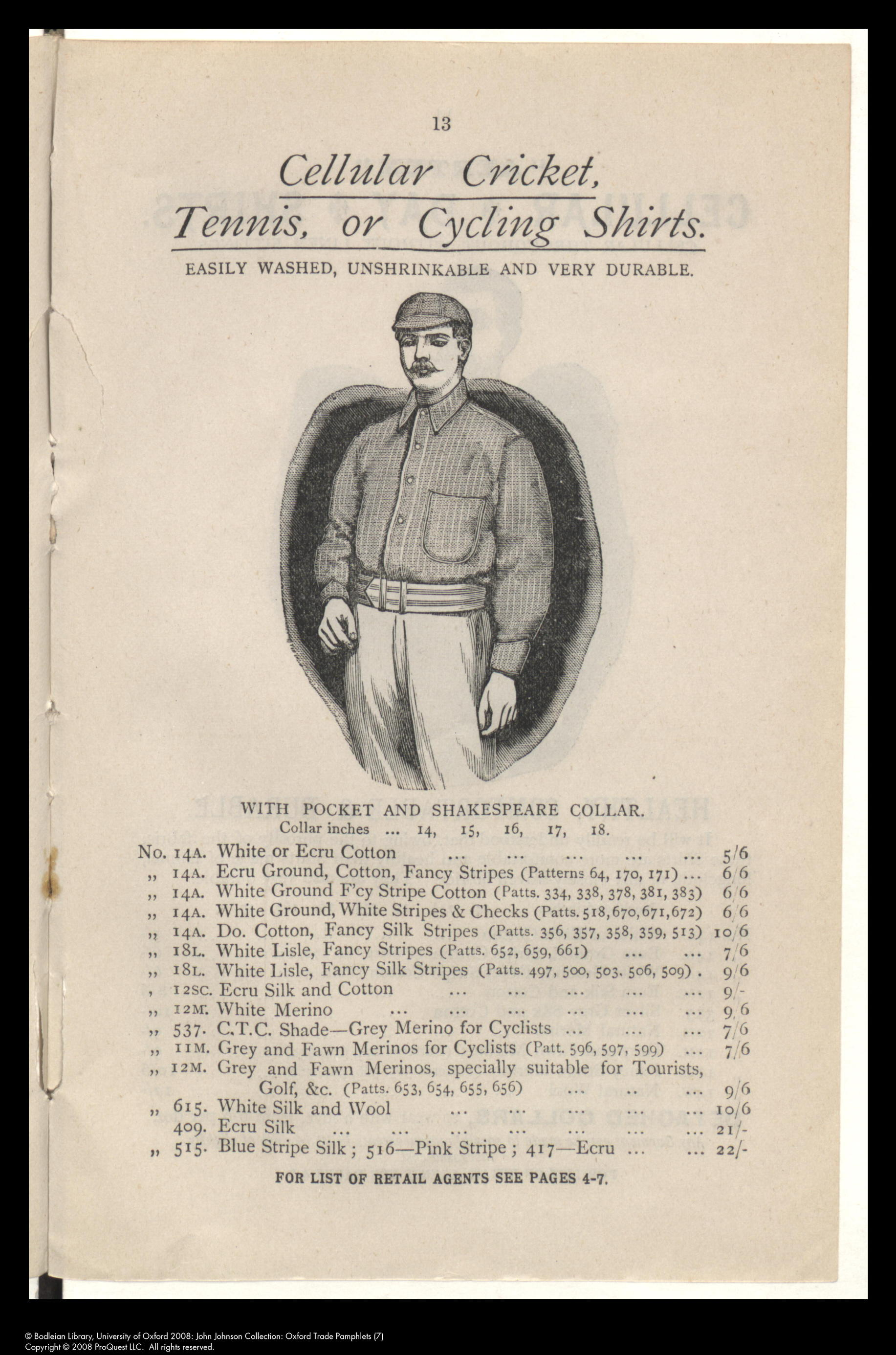 Cellular cloth and clothing catalogue showing Shakespeare collar, 1892