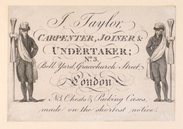 Trade Card for J. Taylor, carpenter, joiner & undertaker