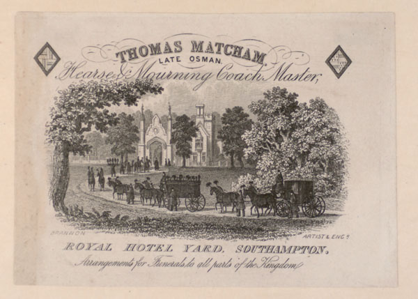 Trade Card for Thomas Matcham , hearse & mourning coach maker