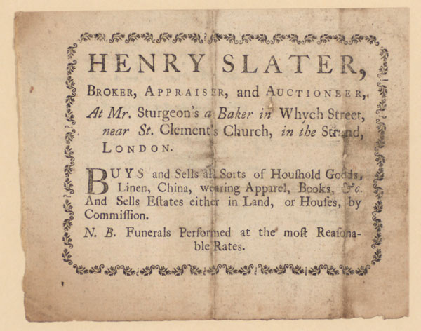 Trade Card for Henry Slater, broker