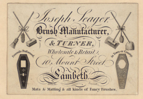 Trade Card for Joseph Seager, brush manufacturer