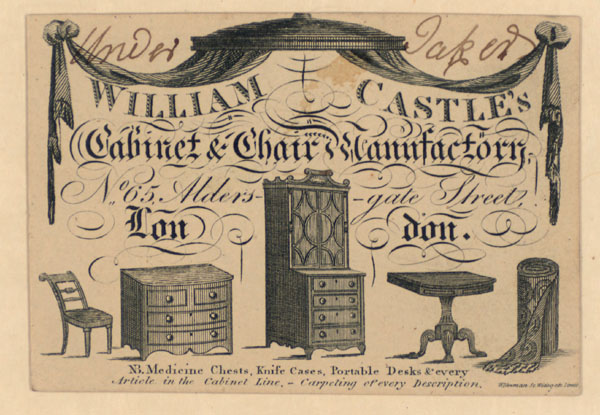 Trade Card for William Castle, cabinet & chair manufactory
