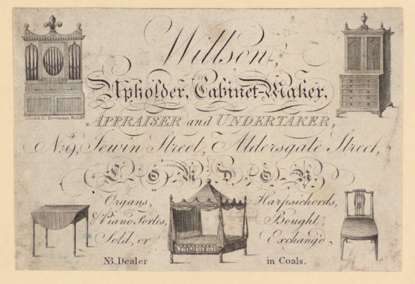 Trade Card for Willson, upholder, cabinet-maker, etc.