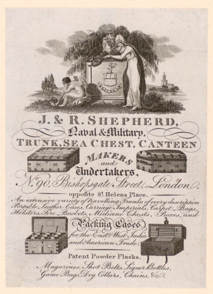 Trade Card for J. & R. Shepherd, naval & military trunk makers
