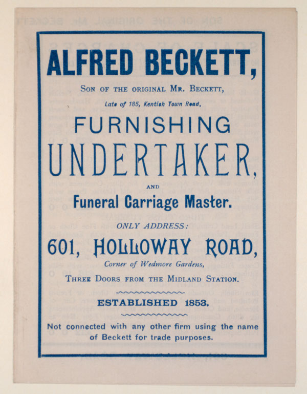 Trade advertisement for Alfred Beckett, furnishing undertaker