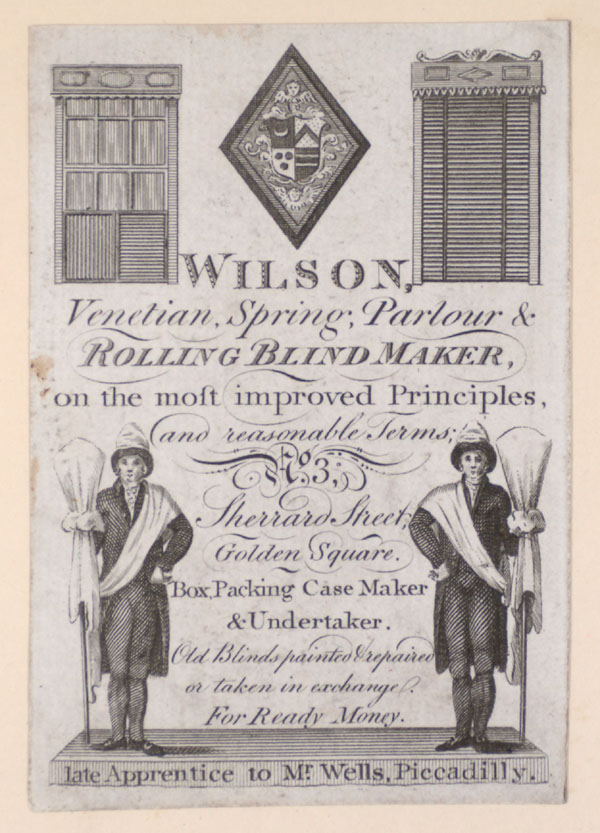 Trade Card for Wilson, Venetian spring parlour