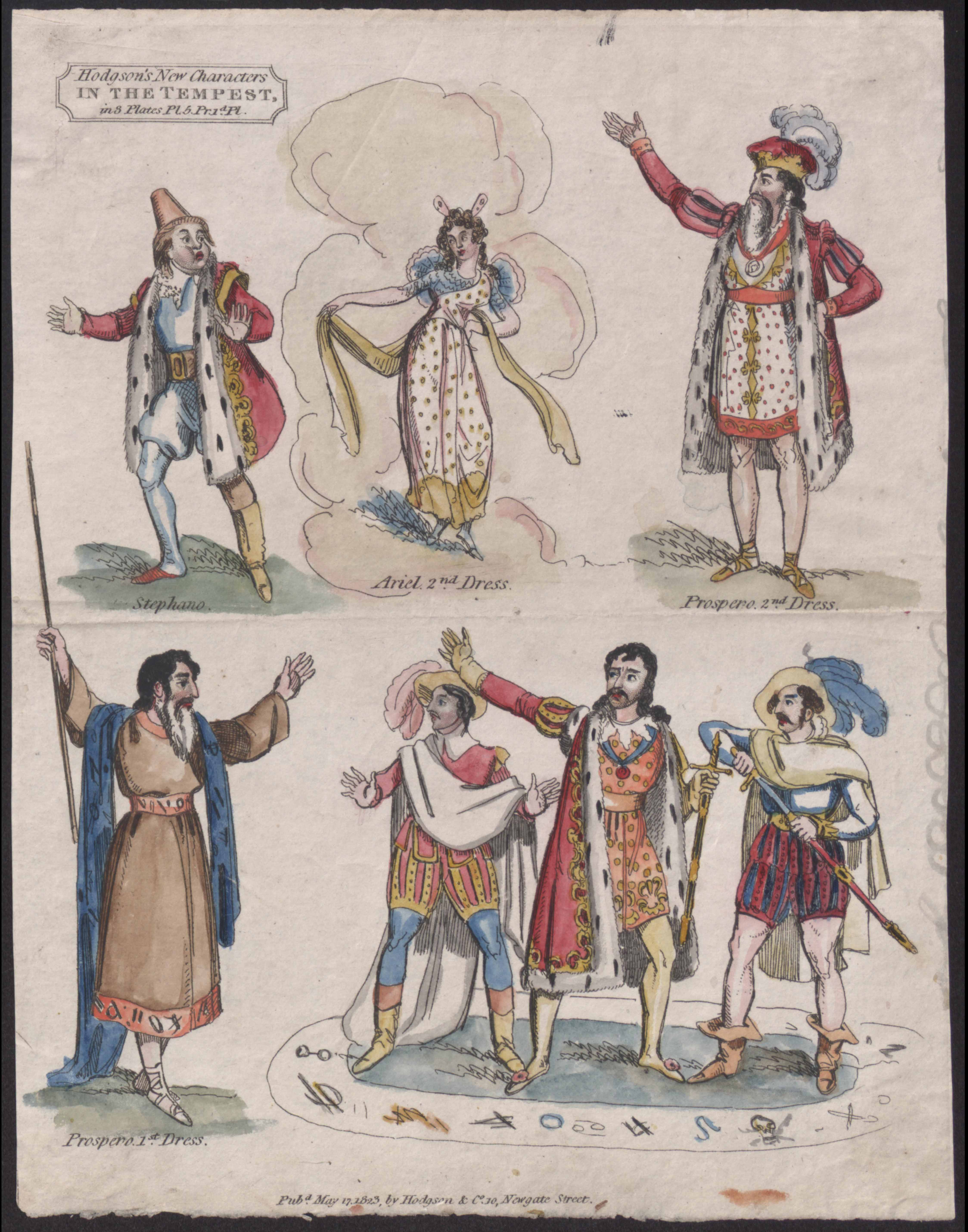Hodgson's New Characters in The Tempest Miniature Theatre sheet, 1823