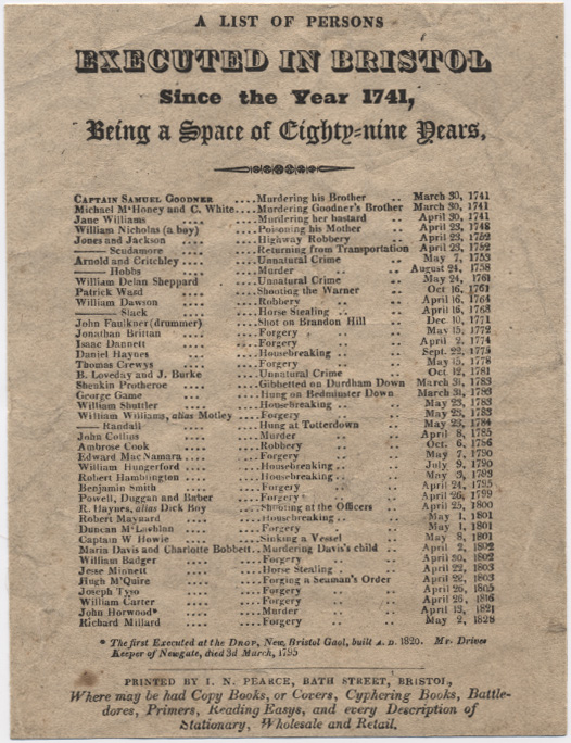 List of Bristol executions, c. 1829