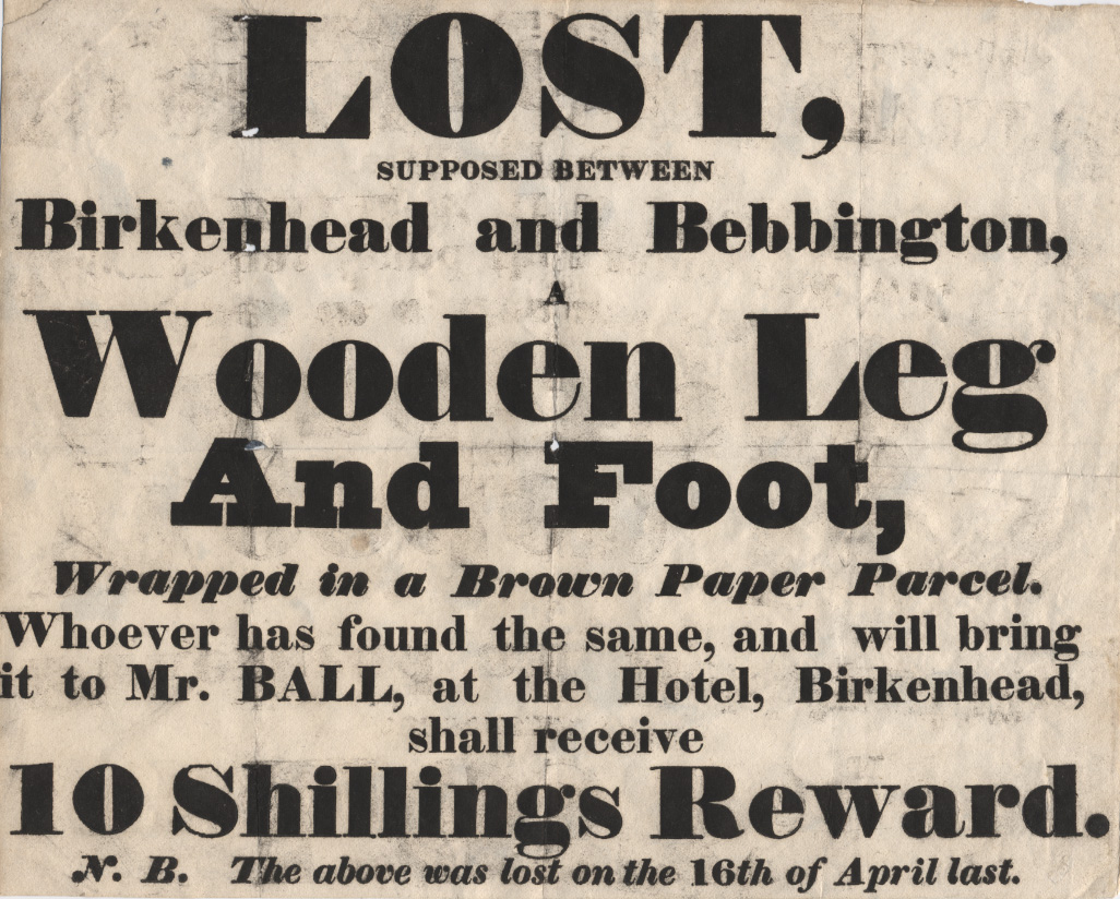 Lost notice, for Wooden leg and foot