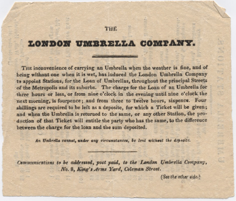 Letterpress advertisement for the hire of umbrellas