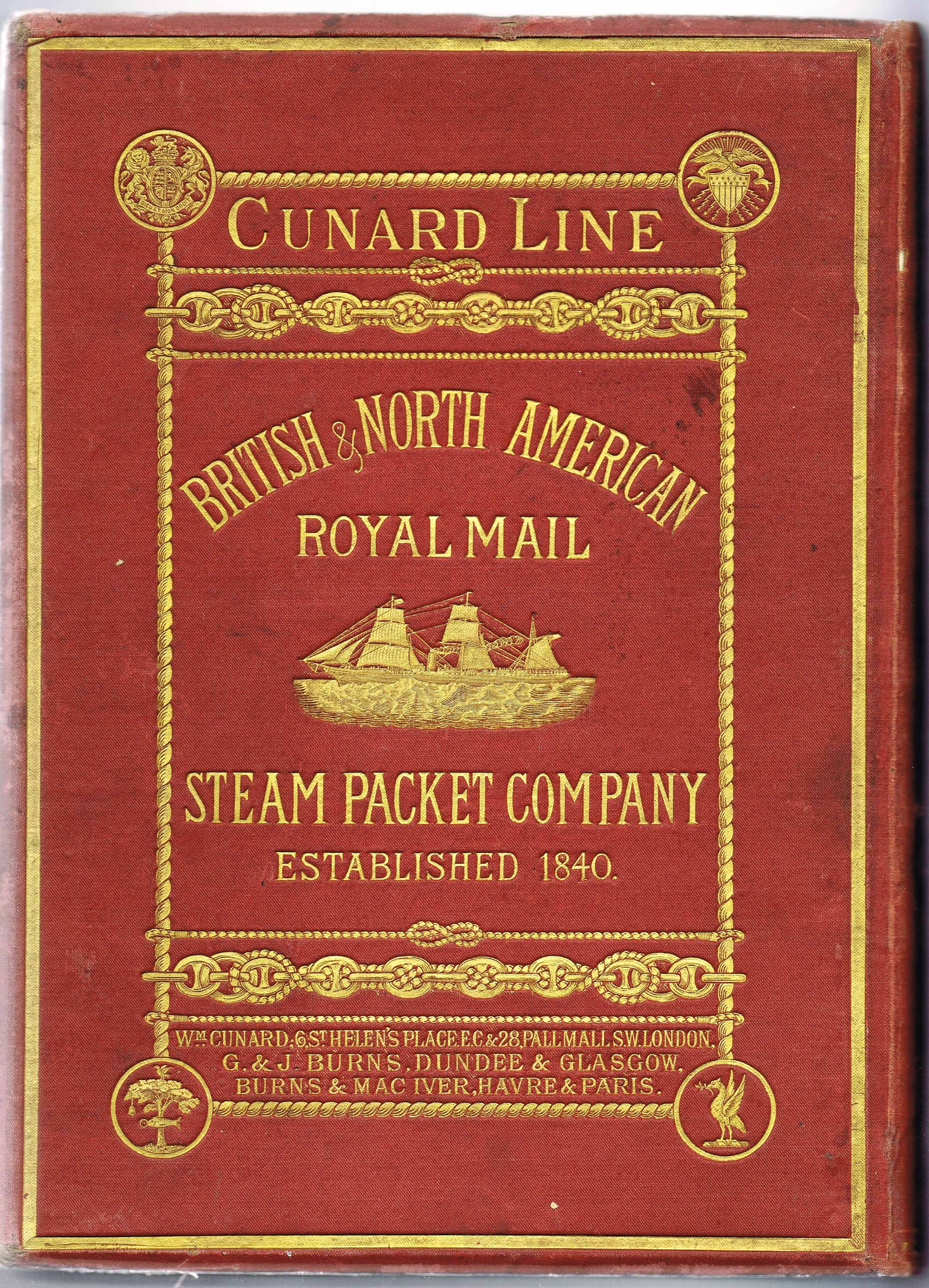Cover of Cunard 1876 brochure