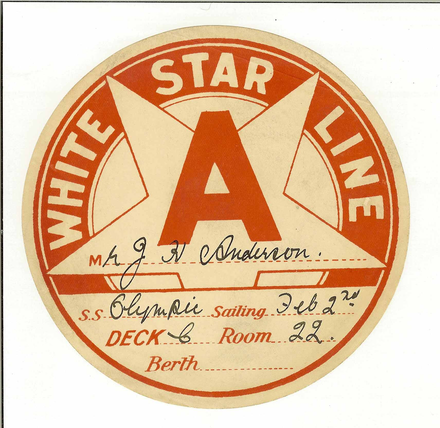White Star Baggage Label