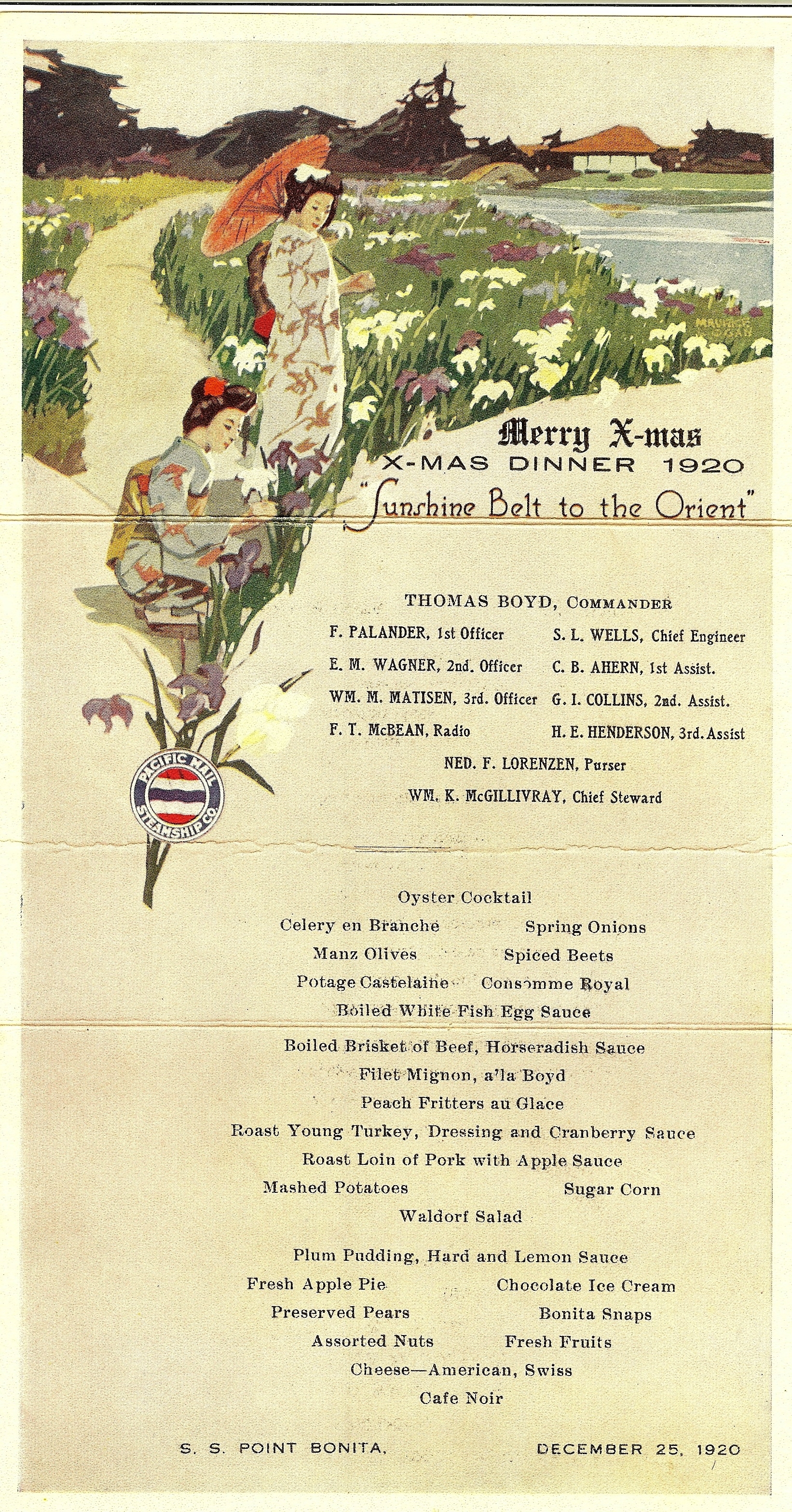 S.S. Point Bonita, Christmas dinner menu, 1920
