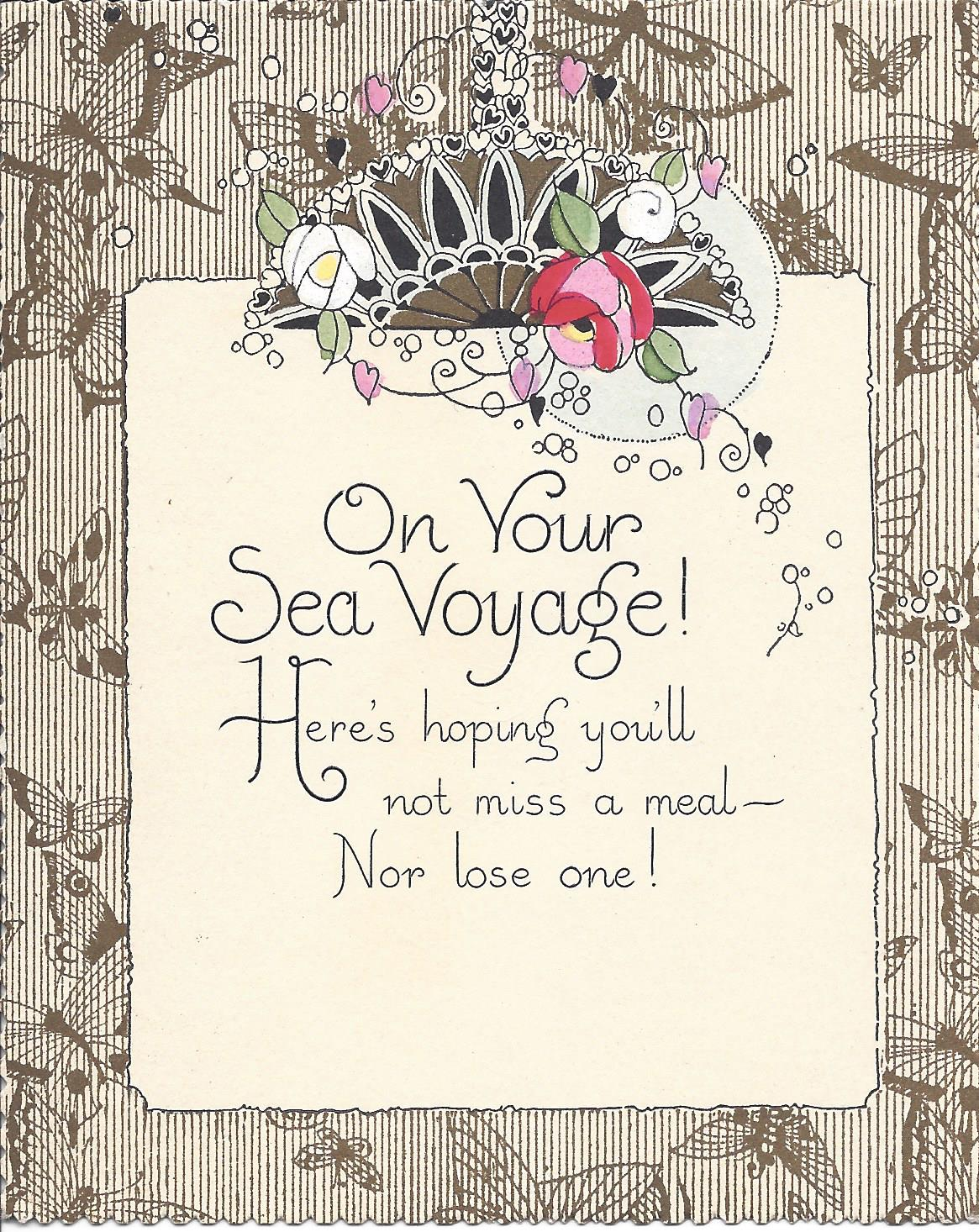 A Bon Voyage card with a caveat – don't get seasick!