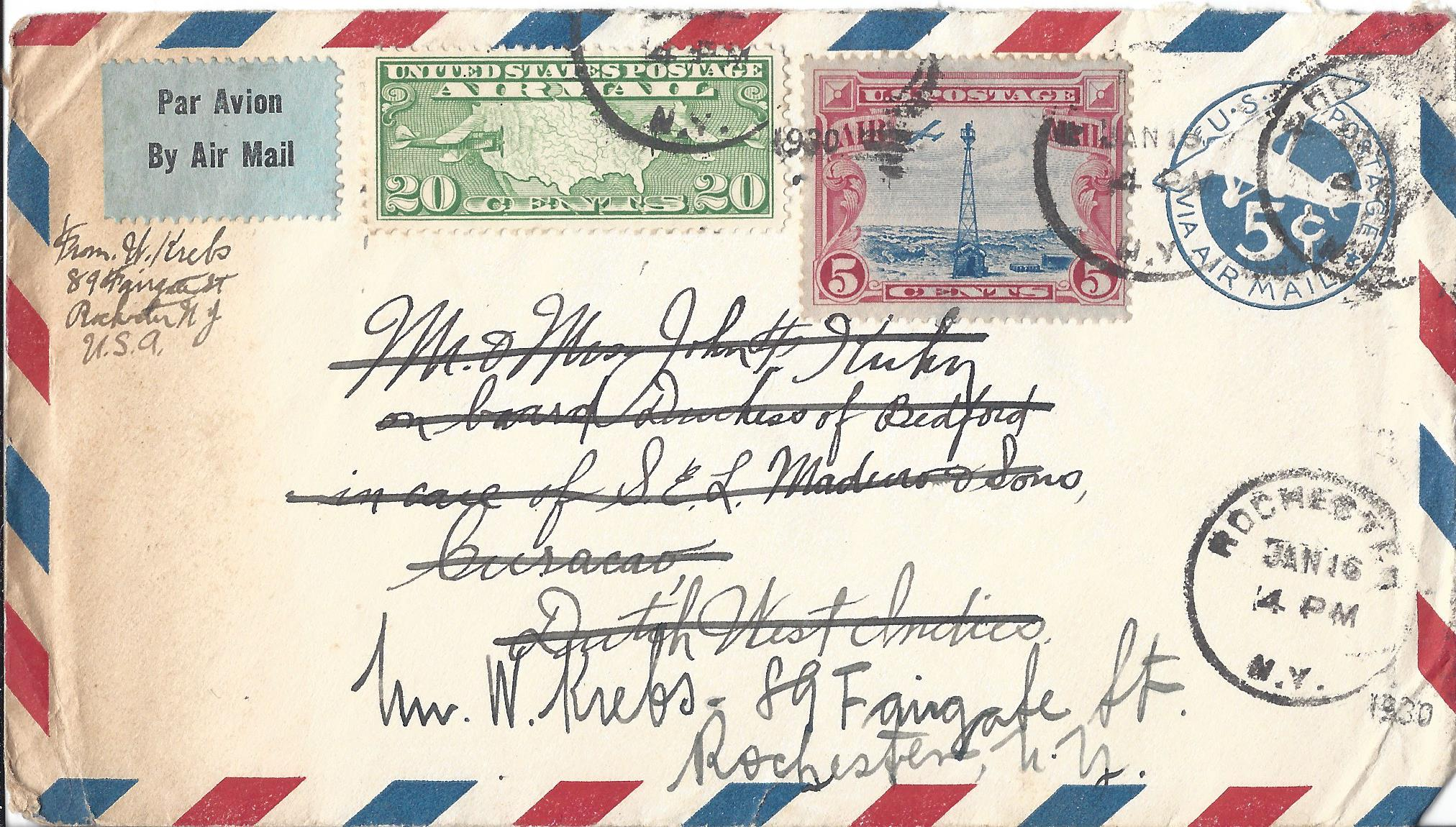 An envelope targeted at a stamp or cover collector – which arrived too late at its destination and got routed back to the sender