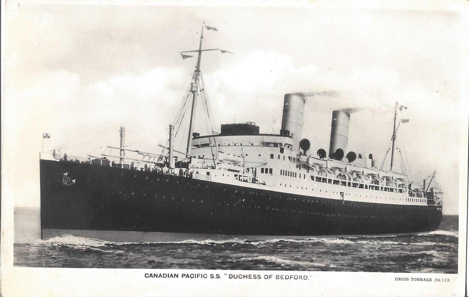 Canadian Pacific Steamship's modern SS Duchess of Bedford as pictured on a Real Photo card from an unidentified publisher