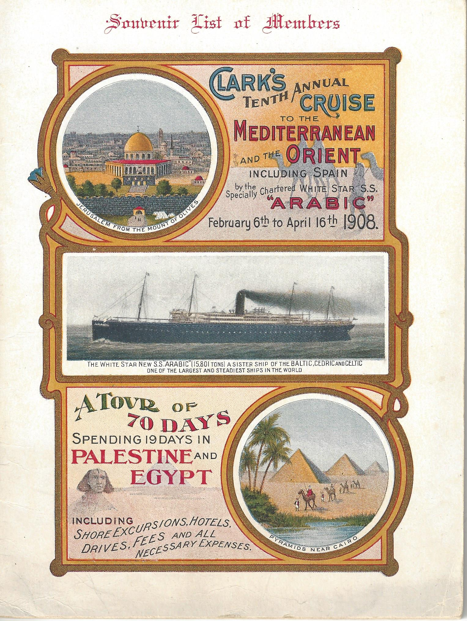Clark's tenth annual cruise to the Mediterannean and the Orient, 1908 (cover)