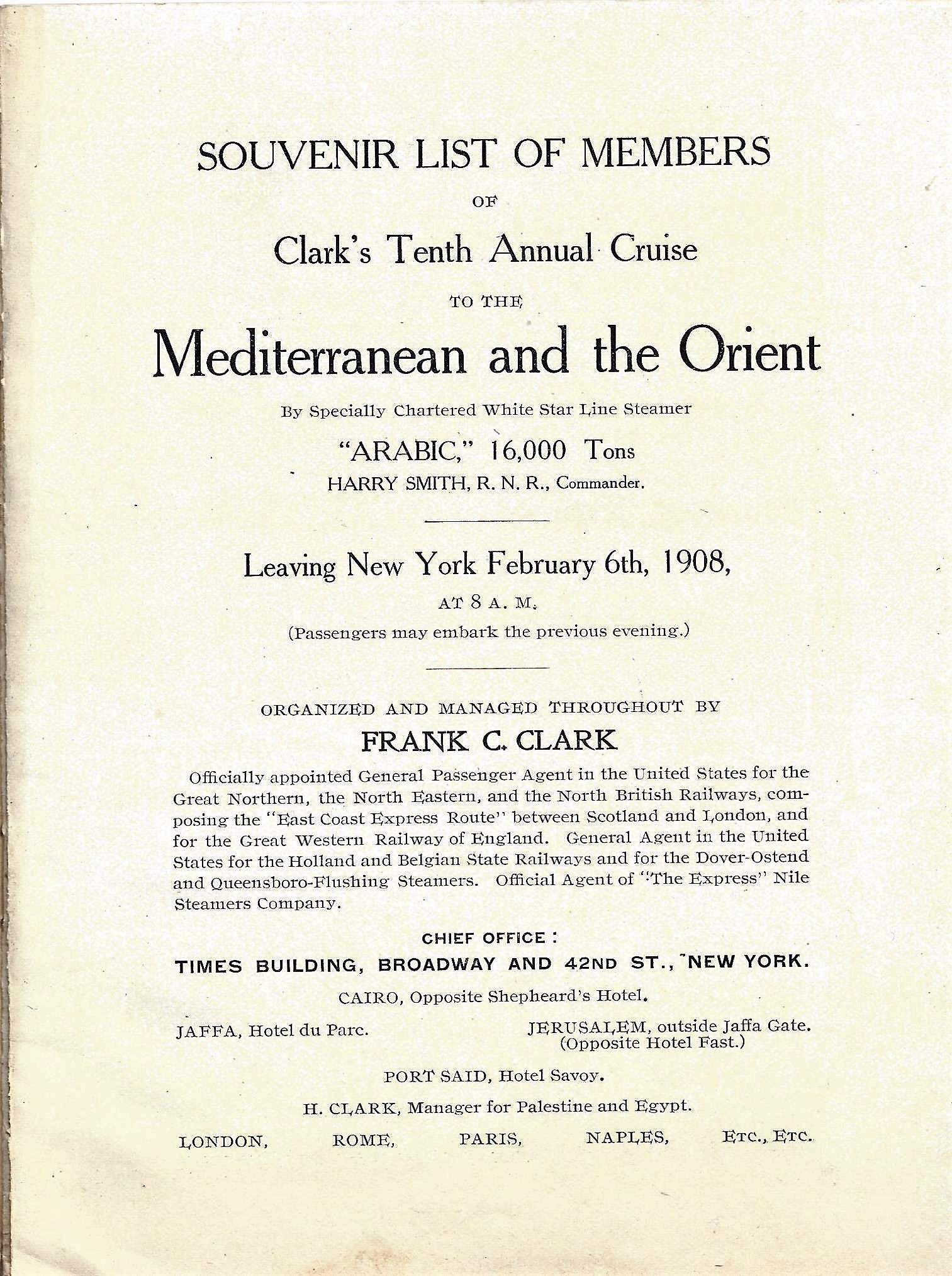 Clark's tenth annual cruise to the Mediterannean and the Orient, 1908 (title page)