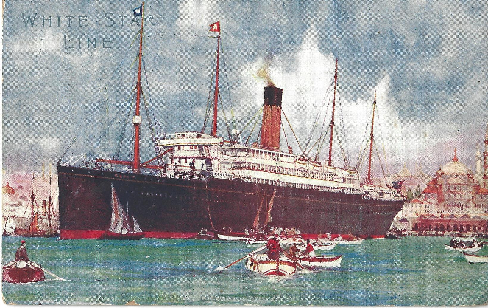 Postcard of RMS Arabic at Constantinople