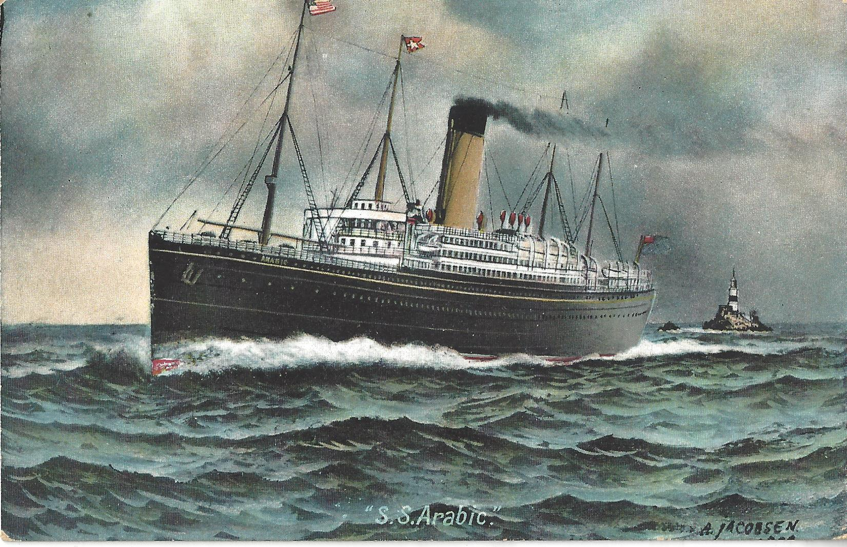 Postcard of RMS Arabic Jacobsen painting