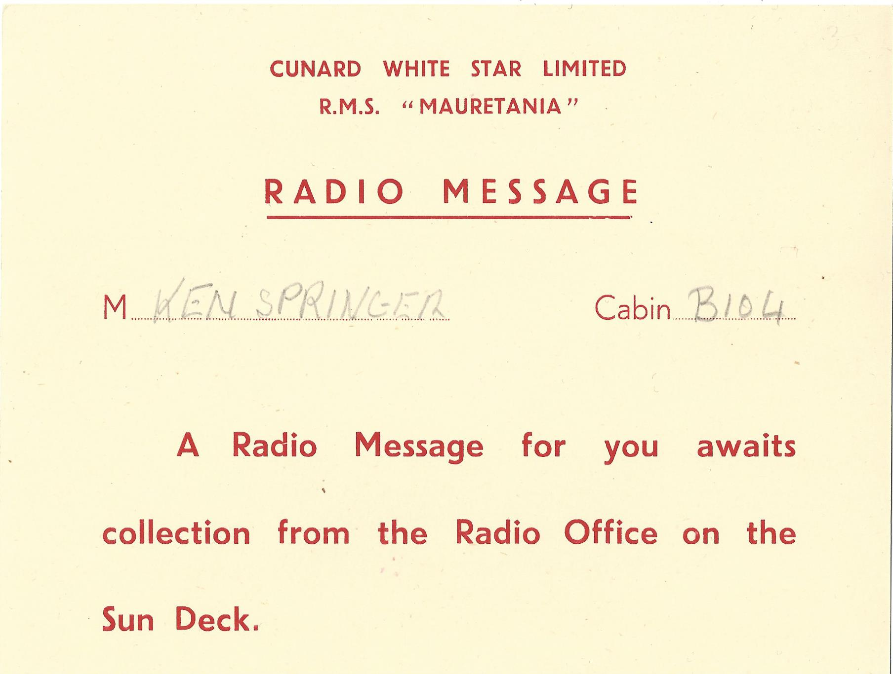 RMS Queen Mary - Radio Message Notice