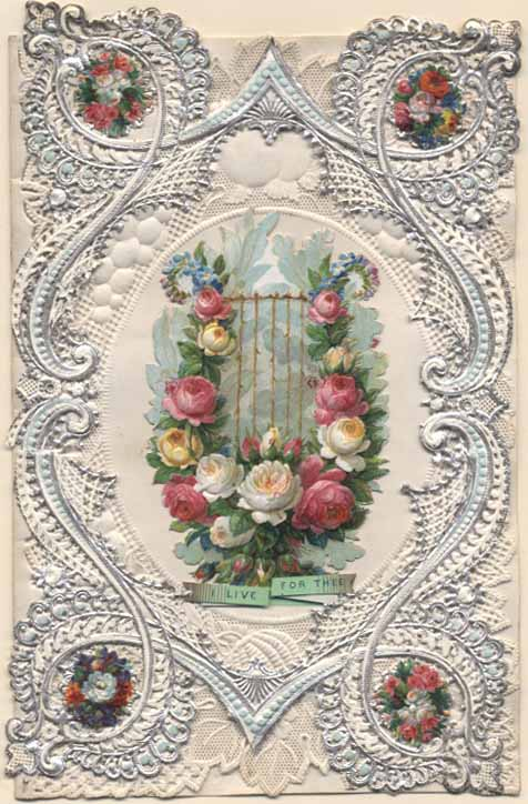 Valentine card with roses around a harp