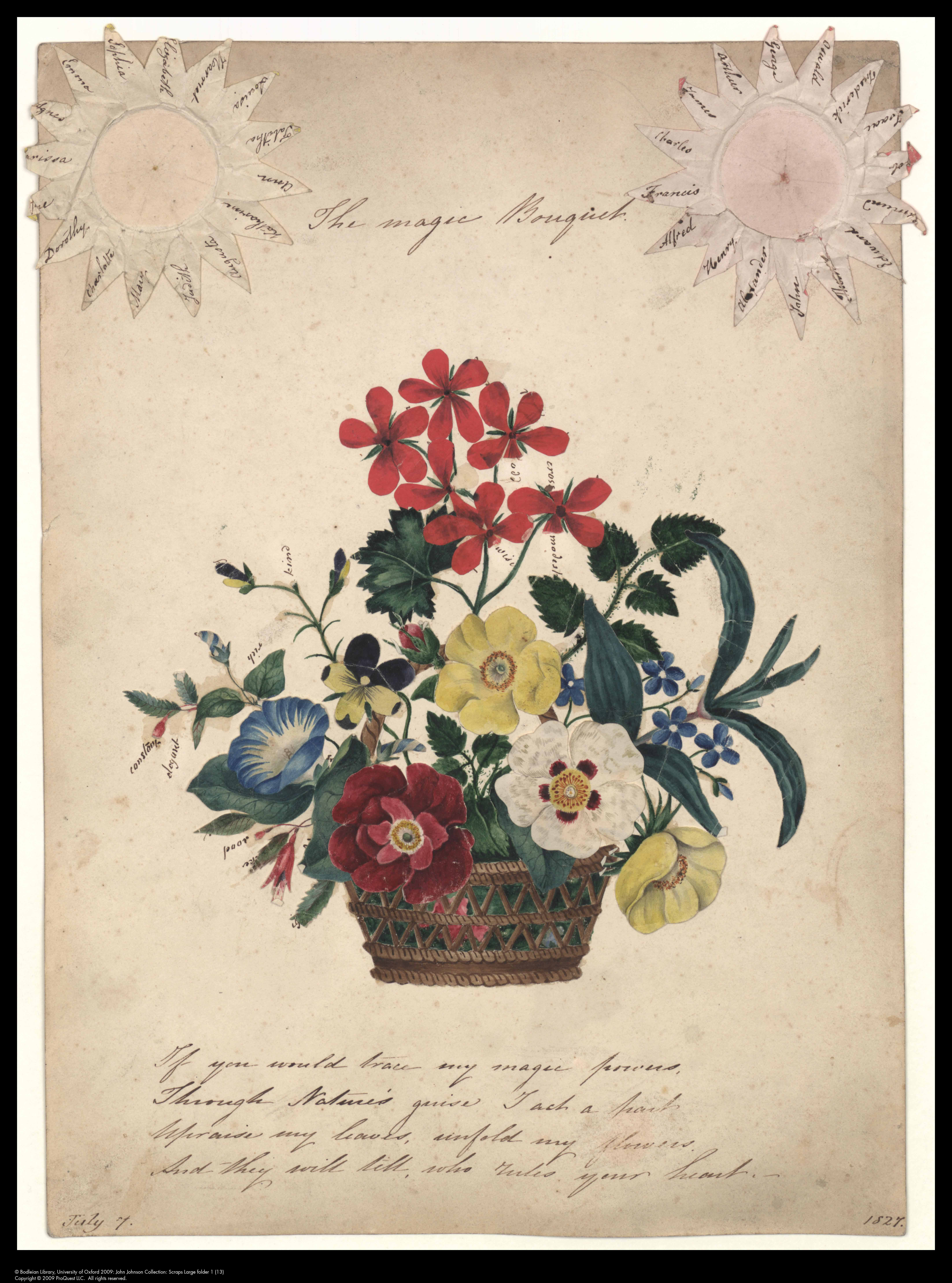 Manuscript bouquet, with meanings under the flowers