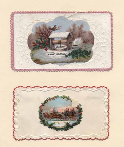 Two visiting-card style Christmas cards of the 1860s