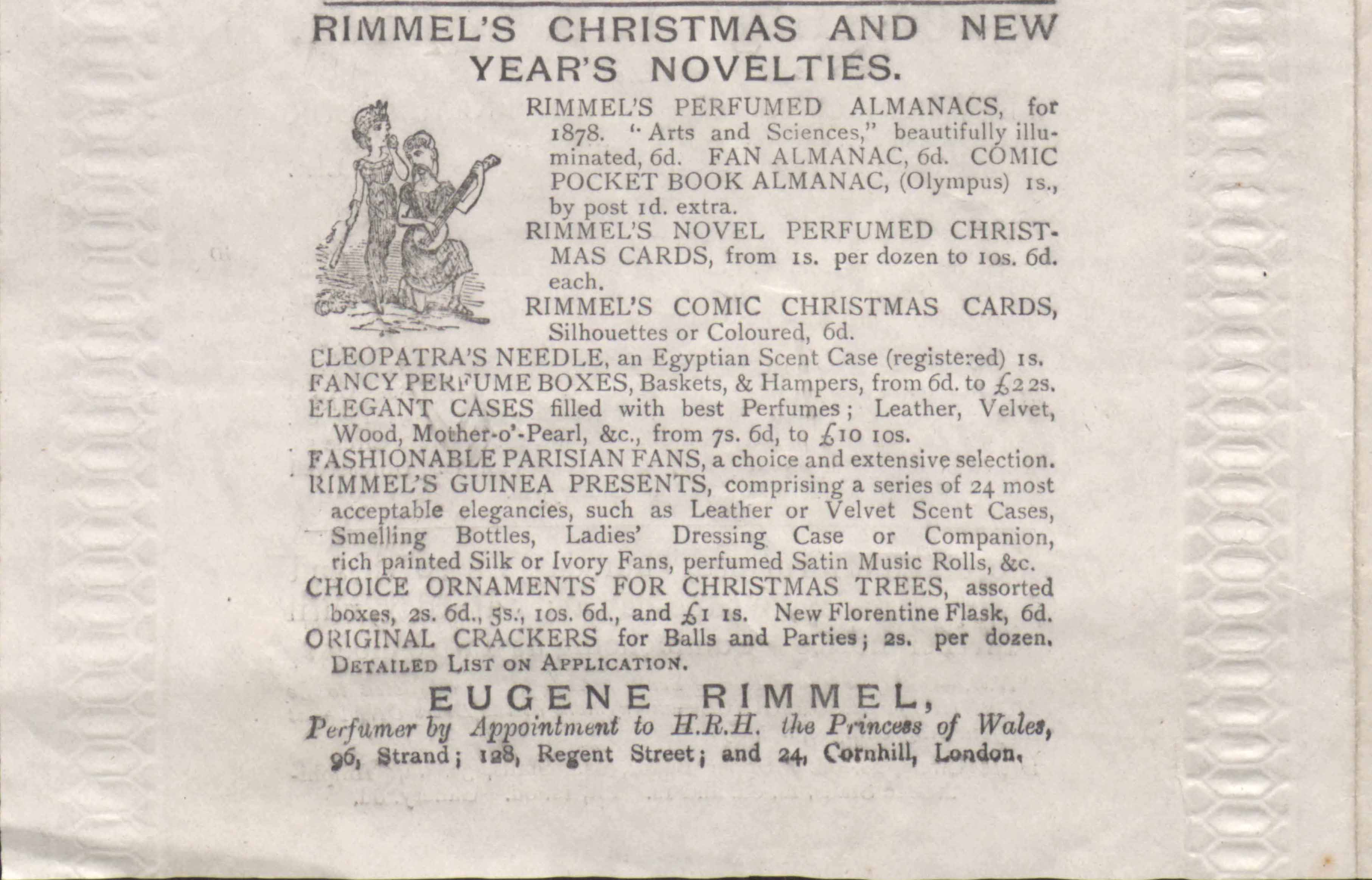 Rimmel advertisement from theatre programme, 26 November 1877