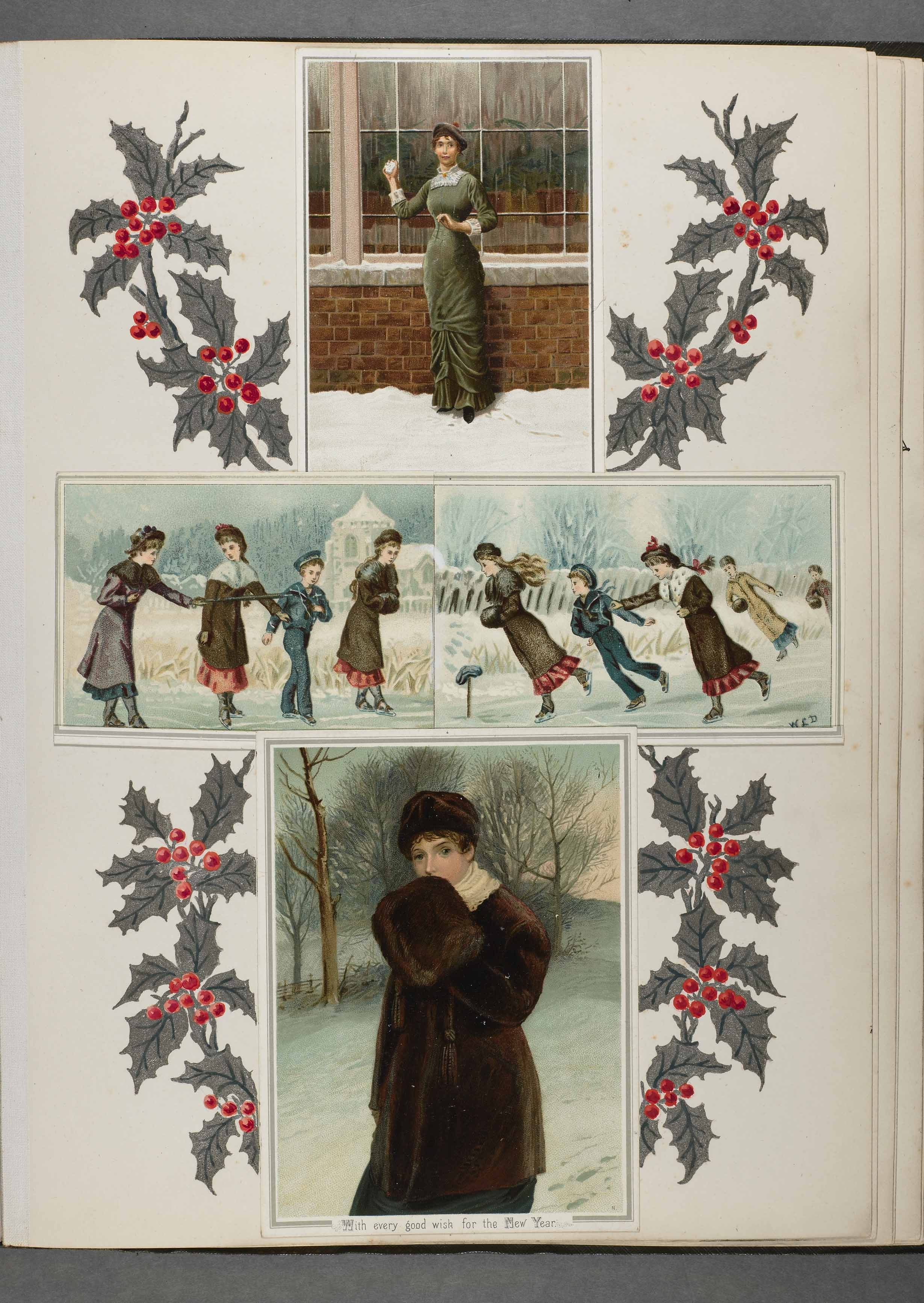 Competition page. For their Exhibition of Christmas card designs of 1881-1882, Hildesheimer & Faulkner invited various amateurs to arrange these cards as they sought fit and add their own decoration. A number of prizes were awarded for the best designs.