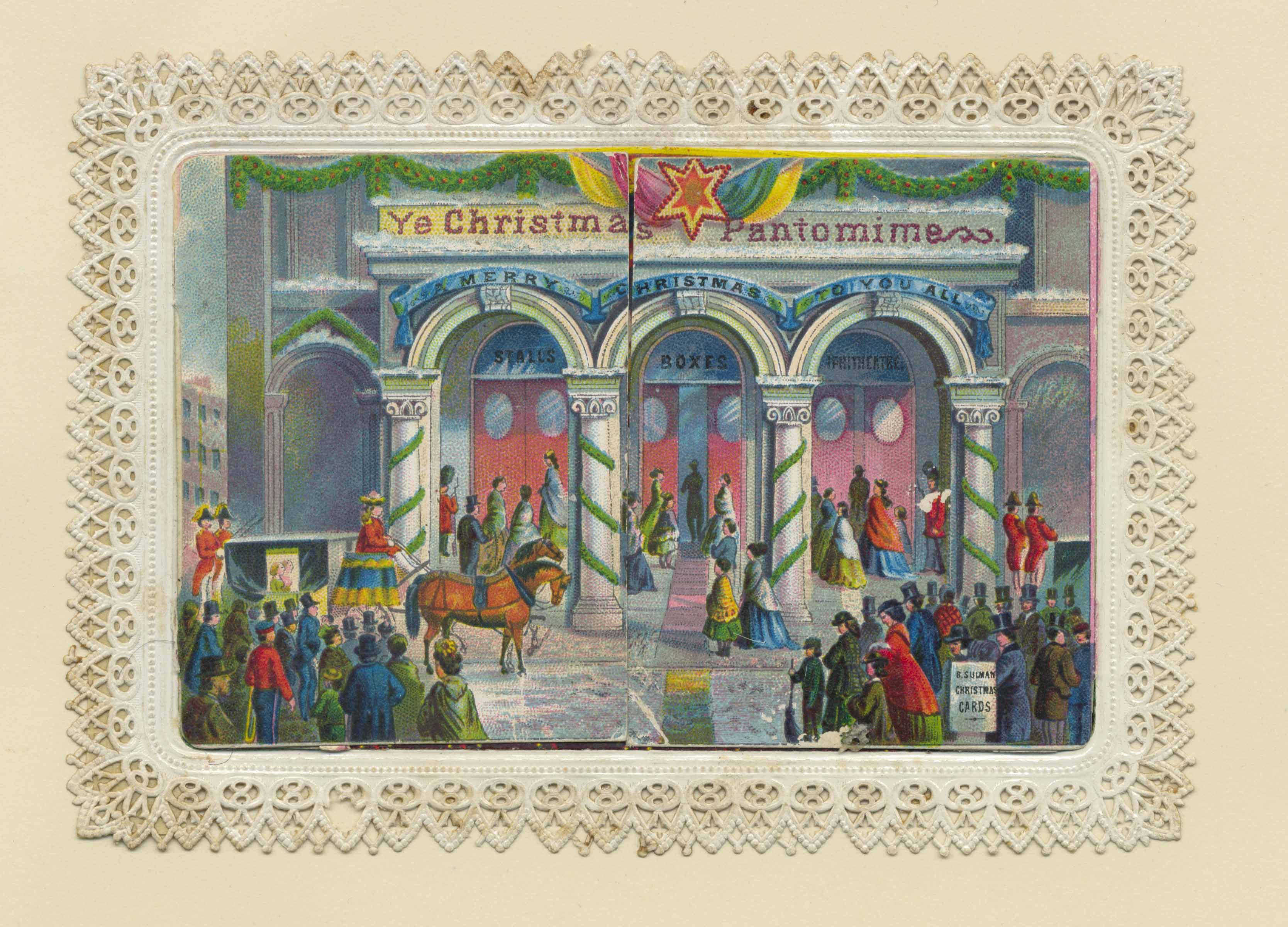 Pantomime card with elaborate springs revealing a stage with a pantomime in progress.
