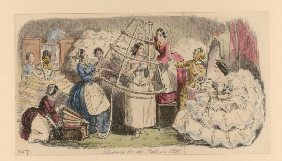 Dressing for the ball. Satirical print: John Johnson Collection: Valentines 7 (19)