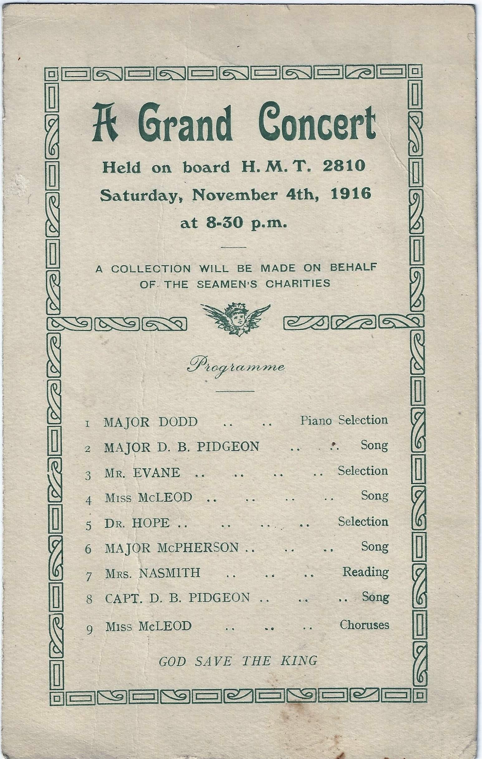 Concert programme H.M.T.2810