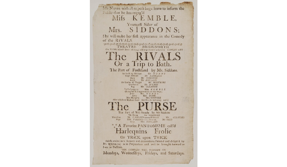 Playbill for The Rivals, Bridgnorth 2 December 1795