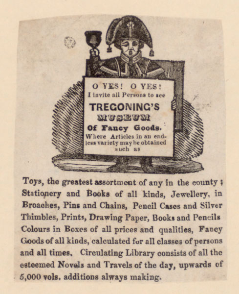 Advertisement for Tregoning's Museum of Fancy Goods