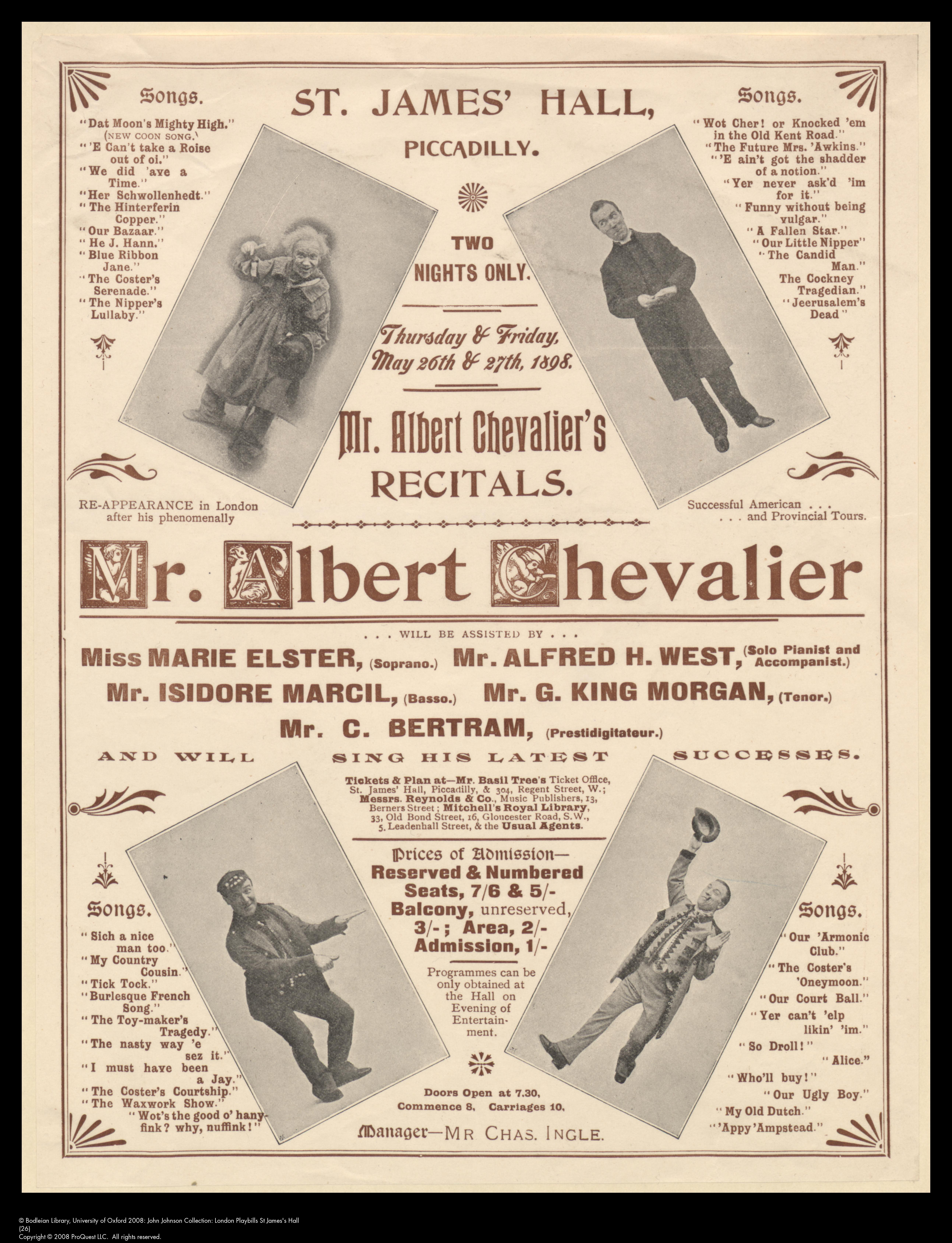 Programme for Albert Chevalier's performances at St. James's Hall, Piccadilly, 26 & 27 May 1895.
