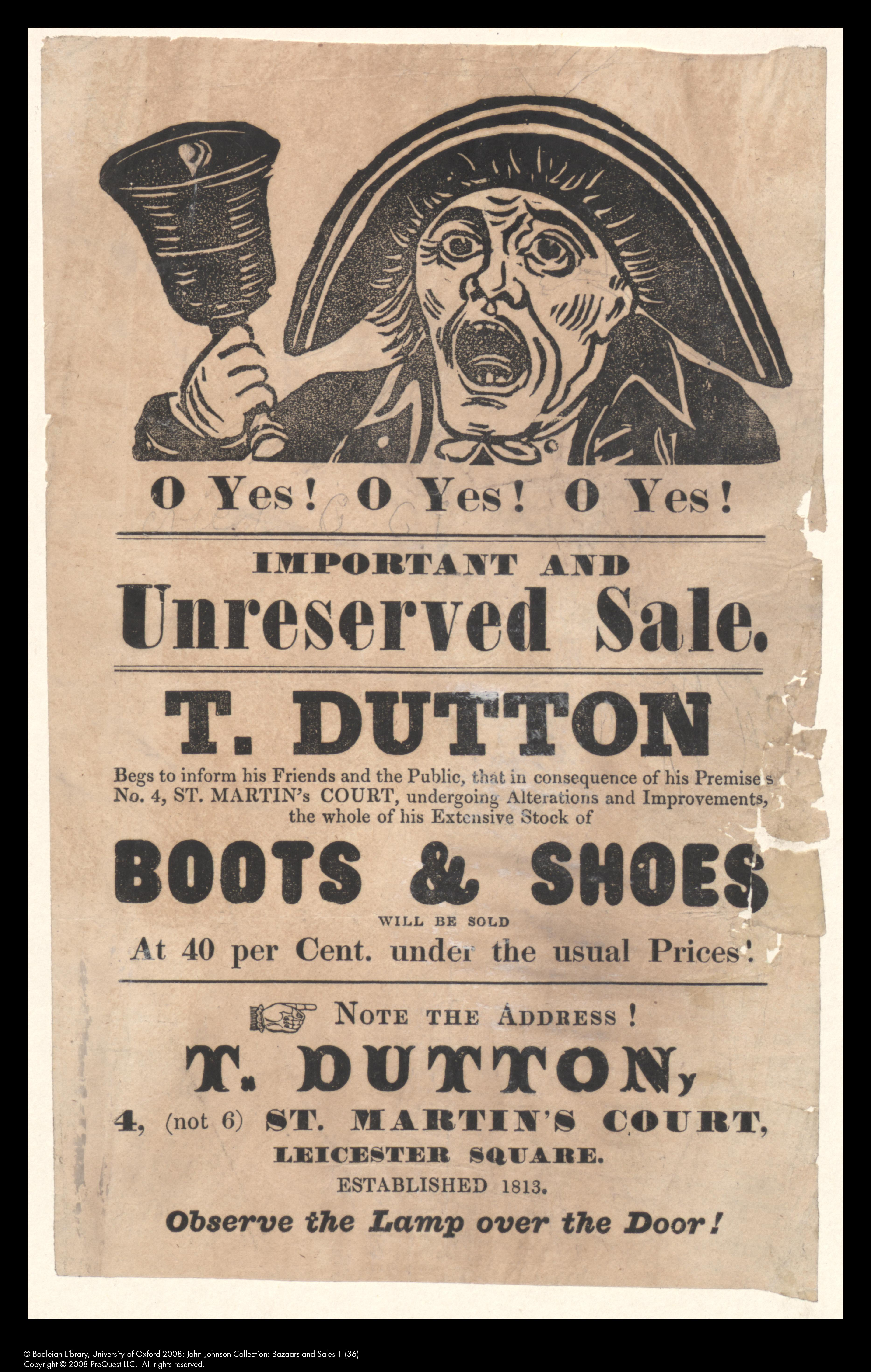 Advertisement with image of a bellman: T. Dutton
