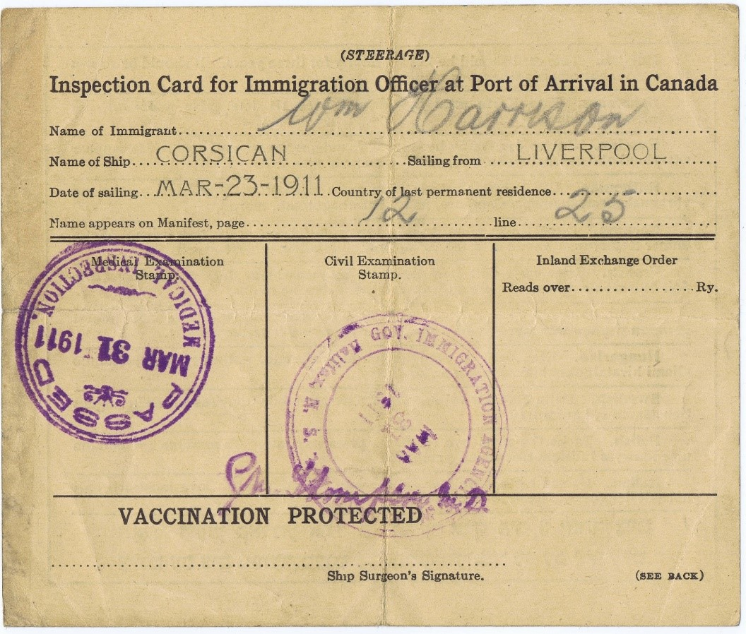 Allan Line immigration inspection card, 23 March 1911